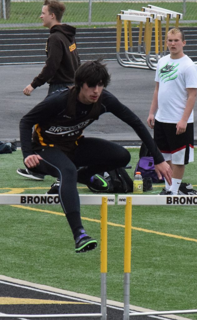 Western Brown's Logan Hunley placed second in the high jump at the Anderson Invitational last week.  Photo by Garth Shanklin