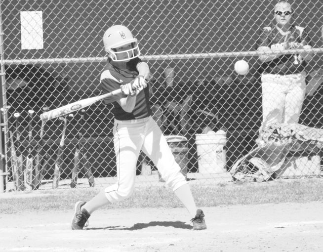 Western Brown sophomore Hailey Moore ripped this pitch right to the shortstop, the final out of Western Brown's 6-5 loss to Wilmington Saturday. The Lady Broncos would win game two and split the doubleheader. Photo by Garth Shanklin.