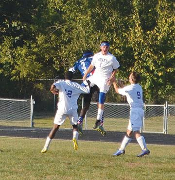 Ripley's Laymon Marshall celebrates with teammates after scoring a goal in the Jays' Oct. 12 win over Peebles.