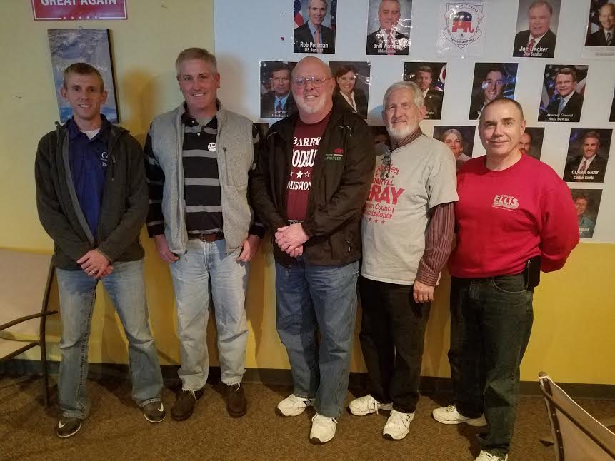 Brown County election winners (from left) Zac Corbin, Clark Gray, Barry Woodruff,Daryll Gray and Gordon Ellis celebrate their election victory in Georgetown.