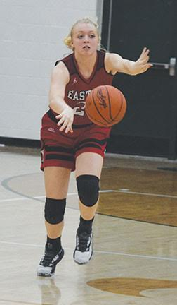 Eastern's Allison Day directs traffic while heading the point of the Lady Warrior offense during this year's Southern Hills Athletic Conference Girls Basketball Preview held at North Adams High School on Nov. 18.