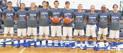 The Ripley-Union-Lewis-Huntington Blue Jays hit the hardwood this season with a mix of experience and young talent. From the left, are Laymon Marshall, Dalton Moran, Jordan Griffith, Josiah Staggs, Alex King, Peyton Fyffe, Josh Deaton, Brian Dunn, Jaki Royal, and Ryan Harney.