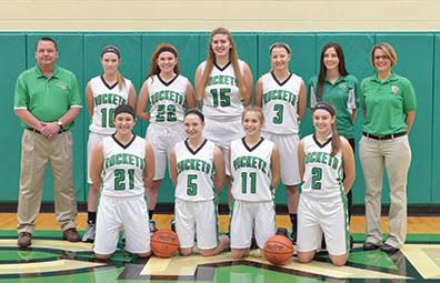 The Fayetteville-Perry Lady Rockets begin their quest for a Southern Hills League Division II title. Front row, from the left, are Haley Moore, Kasey Wallace, Cecilia Murphy, and Emily Houk; back row, head coach Toby Sheets, Taylor Cornett, Hannah Wiederhold, Margo Thompson, Savannah Lynch, assistant coach Shelby Sheets, and assistant coach Tory Rummel.