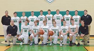 This year's Fayetteville-Perry varsity boys basketball team consists of, front row, from the left, head coach Jason Iles, Max Lanham, Colin Connor, Bowen Doane, Nic Ball, Christopher Murphy, Clay Davis, and assistant coach Rusty McCulley; back row, assistant coach Eric Schaefer, Tay Call, Tyler Kingus, Garhett Thompson, CJ McCulley, Malachi Shelton, Zak Smyth, Luke Wiederhold, Caleb Evans, and assistant coach Miah Call.